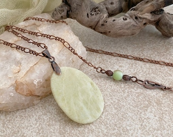 Serpentine Necklace | natural light green earth stone jewelry
