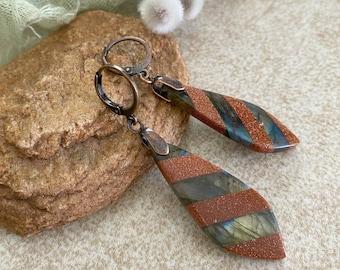 Labradorite Goldstone Earrings | natural earth stone jewelry