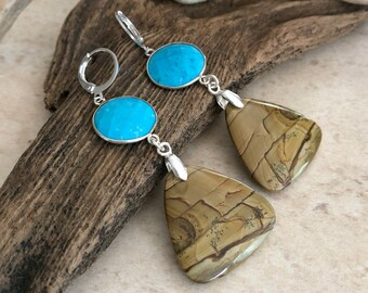 US Biggs jasper and turquoise Earrings | natural earth stone jewelry