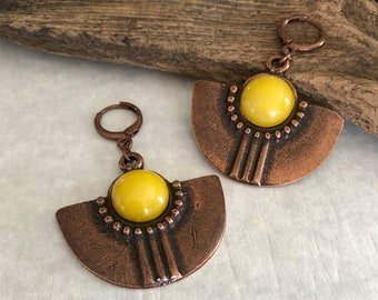 Copper Tribal Fan earrings | yellow crystal quartz natural stones
