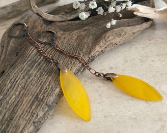 Golden Honey Sea glass earrings | long simple jewelry
