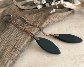Black Sea glass earrings | simple long drop jewelry