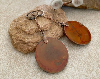 Stone Dangle Earrings | natural warring states agate jewelry