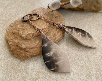 Fossilized Palm Wood earrings | natural earth stone copper jewelry