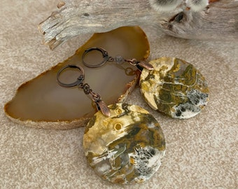 Mother Earth Stone earrings | golden brown agate jewelry