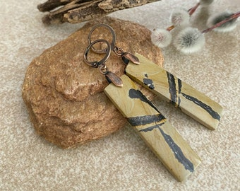 Feather Jasper earrings | natural earth stone jewelry
