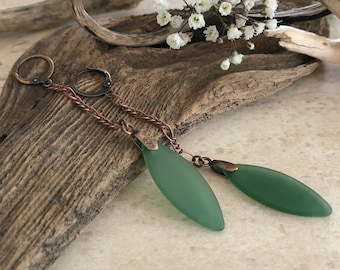 Forest Green Sea glass earrings | beach glass jewelry
