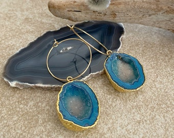 Teal Quartz Agate earrings | natural stalactite in gold jewelry