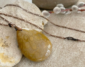 Fossilized Coral Necklace | natural Petoskey earth stone jewelry