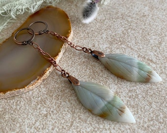 Amazonite Leaf Earrings | marbled natural carved stone jewelry
