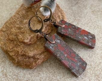 Dragons Blood Jasper earrings | natural earth stone jewelry