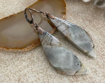 Dendritic Jasper Earrings | natural gray and golden brown stone jewelry