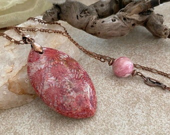 Red Fossil Coral necklace | natural Utah earth stone jewelry