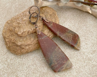 Natural Bloodstone Earrings | earth stone jewelry adornments