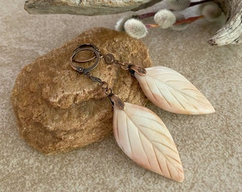 Feldspar Willow Leaf earrings | natural carved earth stone jewelry