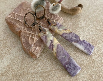Purple Lace Agate earrings | natural earth stone jewelry