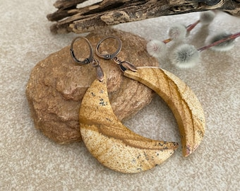 Desert Jasper Moon phase earrings | natural earth stone jewelry