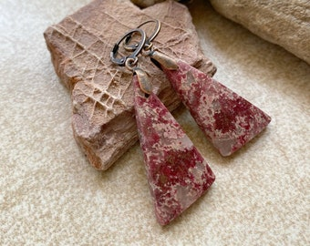 Pink Thulite Earrings | natural raw earth stone jewelry