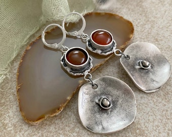 Carnelian Stone Earrings | brushed silver on brass metal jewelry