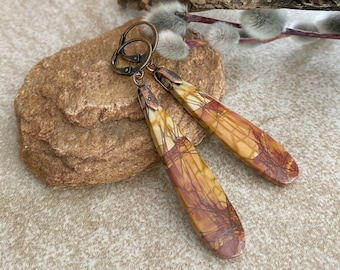 Natural Picasso Jasper earrings   scenic earth stone jewelry