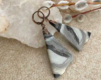 Gray Marble Stone earrings | natural earth jewelry