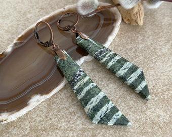 Green Zebra Jasper earrings | natural earth stone jewelry