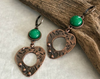 Peaceful Heart Jade earrings | copper and green jade jewelry