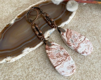 Crazy Lace Drop earrings | natural agate stone jewelry