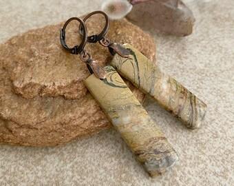Desert Stone Earrings   natural canyon jasper stone jewelry