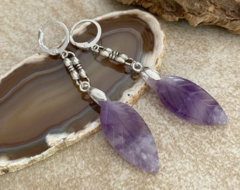 Amethyst Feather Earrings | purple earth stone jewelry