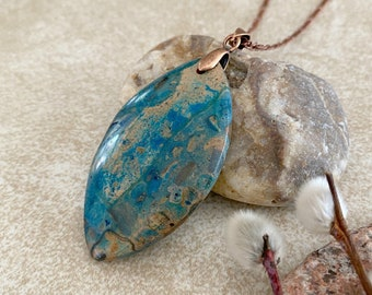 Ghost Eye Jasper necklace | natural indigo blue earth stone jewelry