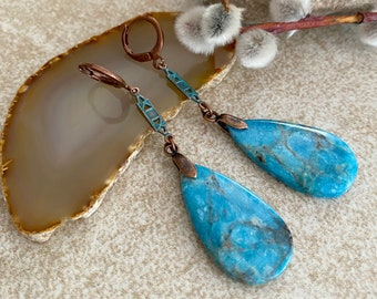 Blue Apatite Earrings | natural crystal stone jewelry