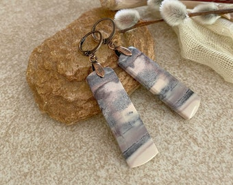 Mexican Opal Earrings | natural lilac purple earth stone jewelry