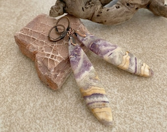 Natural Purple Lace Agate earrings | earth stone jewelry
