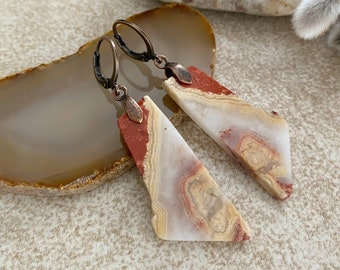 Sunset Agate Slice earrings | natural raw earth stone jewelry