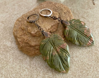 Unakite Leaf Earrings | natural earth stone jewelry