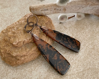 Mahogany Obsidian Jasper earrings | natural ancient stone jewelry