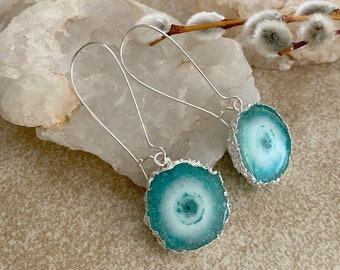 Teal Quartz Agate earrings | natural geode slice in silver jewelry