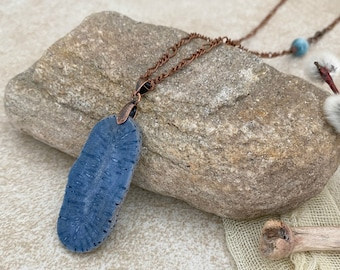 Blue Coral Stone necklace | natural indigo fossil stone jewelry