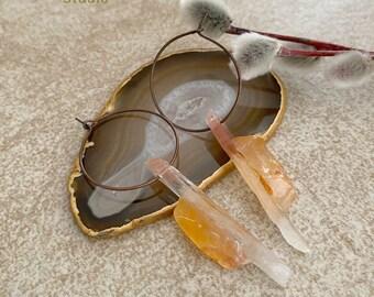 Raw Crystal Hoop earrings | sun fire quartz stone jewelry