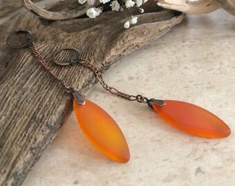 Tangerine Sea Glass earrings | long simple orange jewelry