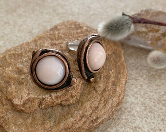 Pink Conch Shell earrings | natural jewelry in antique copper bezels