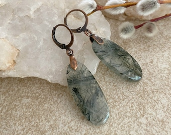 Black Rutile Quartz earrings | natural rutilated stone jewelry
