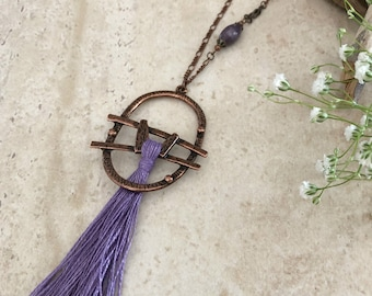 Purple Tassel Necklace | long layering boho luxe jewelry natural lepidolite stone bead