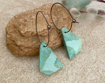 Turquoise Hoop Earrings | raw slab stone jewelry