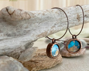 Spiny Oyster turquoise copper earrings | Mohave earth stone jewelry