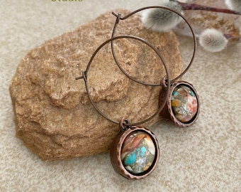 Spiny Oyster turquoise copper earrings | Mojave earth stone jewelry