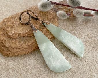Nephrite Jade Earrings | natural pastel green stone jewelry