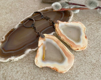 Windows to the Heart earrings | raw earth stone agate slice jewelry