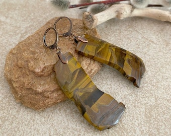 Tiger Eye Stone earrings | golden natural raw earth jewelry
